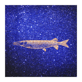 Pike Fish Marine Sea Ocean Life Pink Rose Gold1 Canvas Print