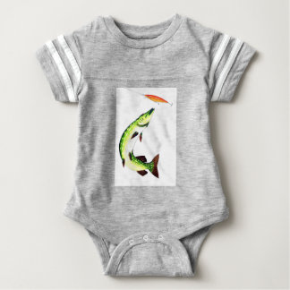 Pike fishing and fly fishing baby bodysuit