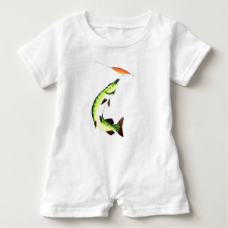 Pike fishing and fly fishing baby romper