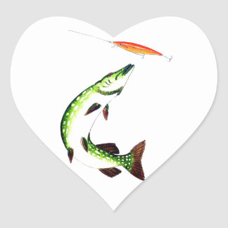 Pike fishing and fly fishing heart sticker