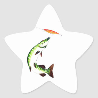 Pike fishing and fly fishing star sticker