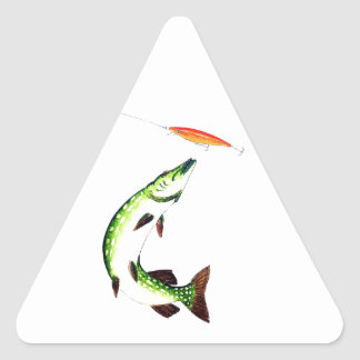 Pike fishing and fly fishing triangle sticker
