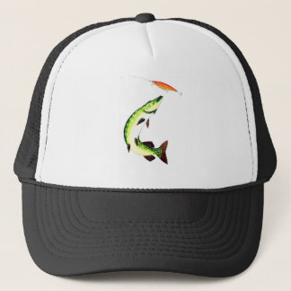 Pike fishing and fly fishing trucker hat
