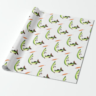Pike fishing and fly fishing wrapping paper