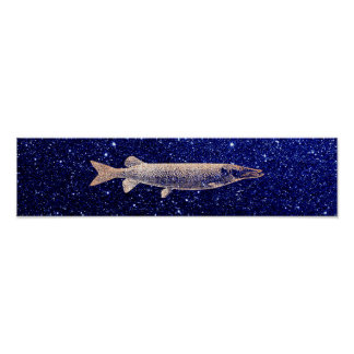 Pike Jack Fish Blush Metallic Pink Rose Blue Navy Poster