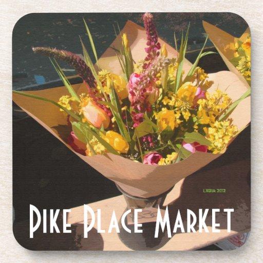 Pike Place Market Flower Bouquet Drink Coaster