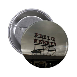 Pike Place Market In Seattle Buttons