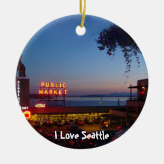 Pike Place Market Double-Sided Ceramic Round Christmas Ornament