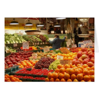 Pike Place Market, vibrant fruit Greeting Card