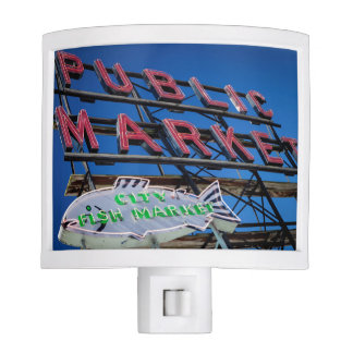 Pike Place Public Market Sign Night Lights