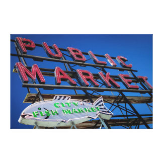 Pike Place Public Market Sign Stretched Canvas Print