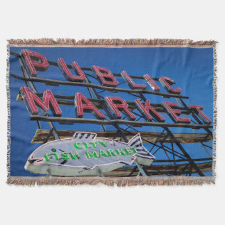 Pike Place Public Market Sign Throw Blanket