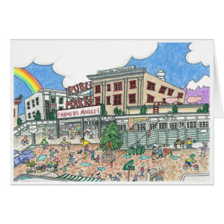 Pike's Market Place, Seattle, Washington in the Greeting Card