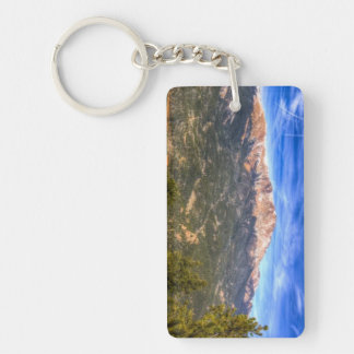 Pikes Peak and Blue Sky Double-Sided Rectangular Acrylic Keychain