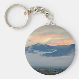 Pikes Peak at sunset with fog bank Keychain
