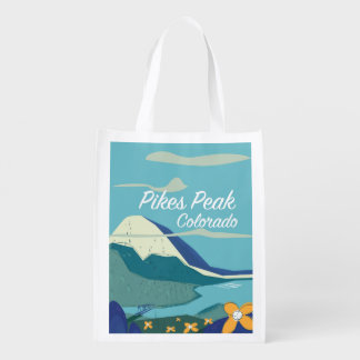 Pikes Peak Colorado vintage style travel poster Reusable Grocery Bag
