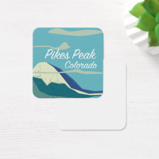 Pikes Peak Colorado vintage style travel poster Square Business Card