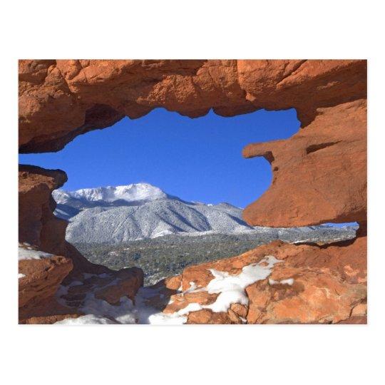 Pikes Peak through Sandstone Hole 01 Postcard