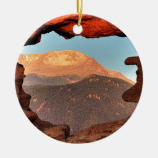 Pikes Peak through Sandstone Hole 02 Ceramic Ornament
