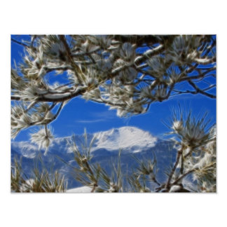 Pikes Peak Winter Snow Covered Fractal Art Poster