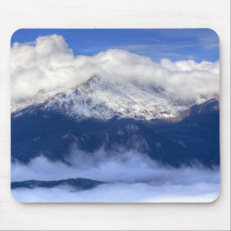 Pikes Peak with Fresh Snowfall and Clouds Mousepad