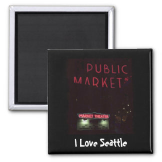 Pikes Place Market at Nite Square Magnet
