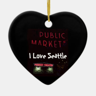 Pikes Place Market at Nite Double-Sided Heart Ceramic Christmas Ornament