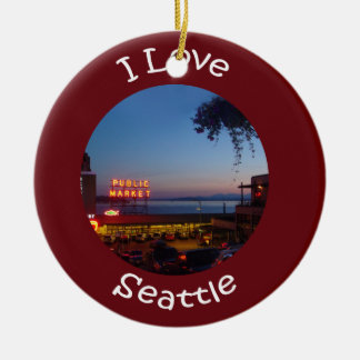 Pikes Place Market Double-Sided Ceramic Round Christmas Ornament