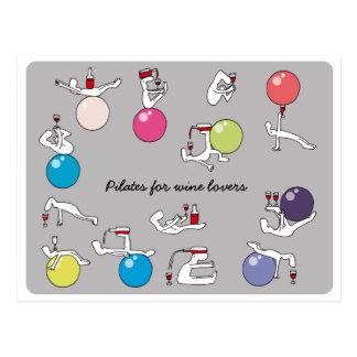 Pilates for wine lovers postcard, grey postcard