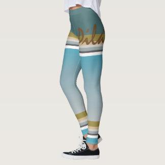 Pilates strip turquoise leggings