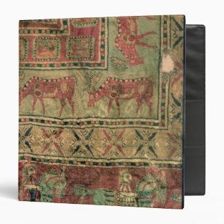 Pile carpet depicting horses and riders 3 ring binder