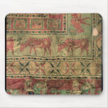 Pile carpet depicting horses and riders mouse pad