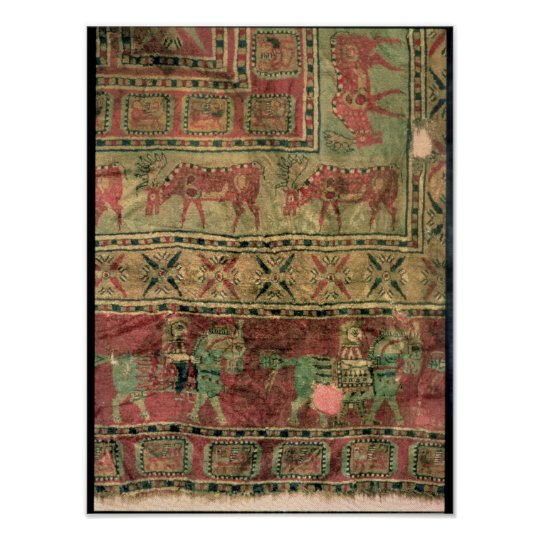 Pile carpet depicting horses and riders poster