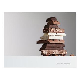 Pile de barres de chocolat cartes postales