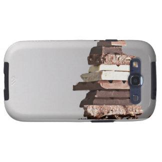 Pile de barres de chocolat étuis galaxy s3