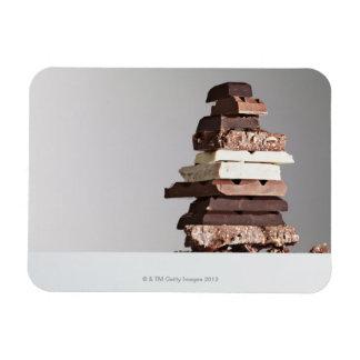 Pile de barres de chocolat magnets en rectangle