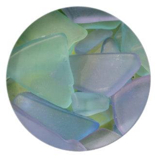 Pile of blue beach glass, Alaska Dinner Plate