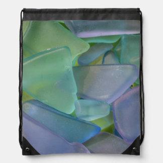Pile of blue beach glass, Alaska Drawstring Bag