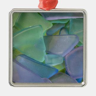 Pile of blue beach glass, Alaska Metal Ornament