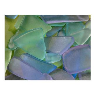 Pile of blue beach glass, Alaska Postcard