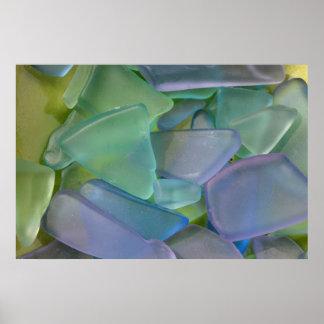 Pile of blue beach glass, Alaska Poster