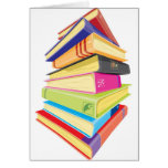 Pile of colourful books greeting card