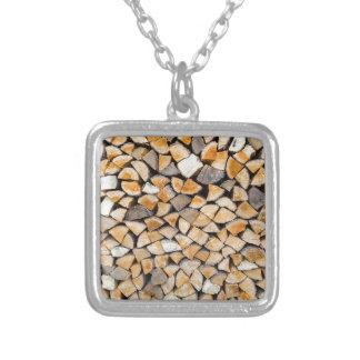 Pile of firewood as tree trunk silver plated necklace