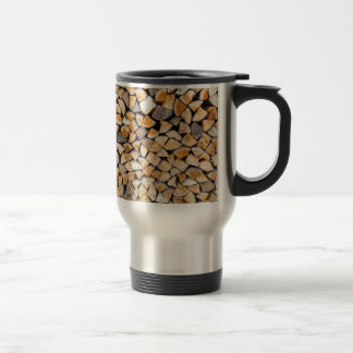 Pile of firewood as tree trunk travel mug