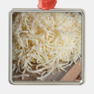 Pile of fresh mozzarella cheese. metal ornament