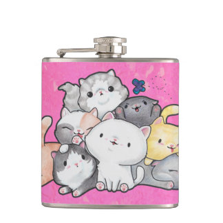 Pile of Kittens Hip Flask