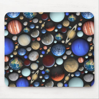 Pile of Planets space themed pattern Mouse Pad