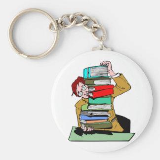 Pile Of Schoolbooks Key Chain