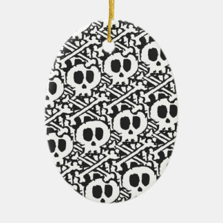 Pile of Skulls Ceramic Oval Ornament
