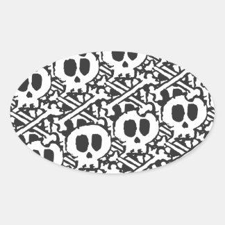 Pile of Skulls Oval Sticker